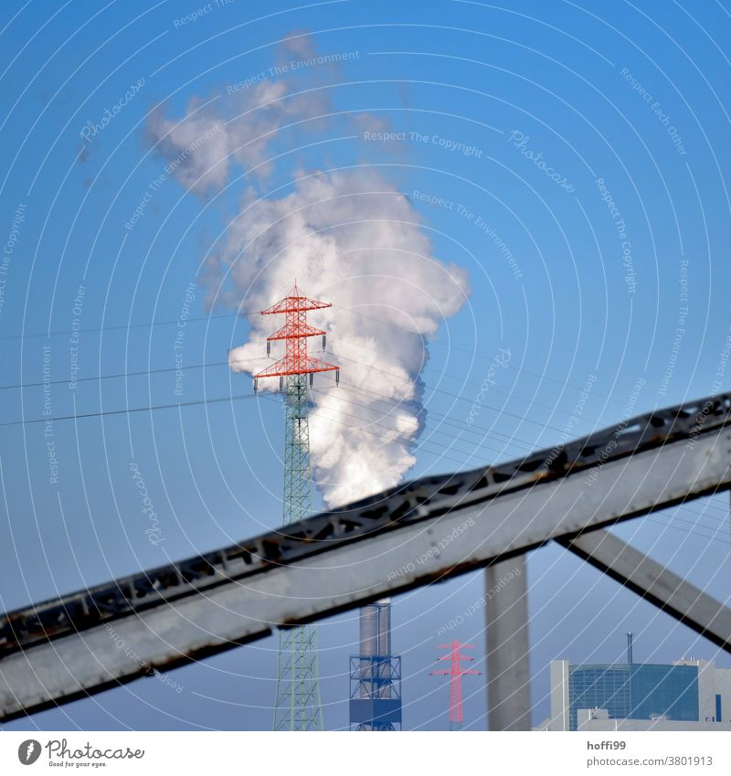Power pole in front of coal-fired power station and bridge fragment emission Coal power station CO2 emission Electricity pylon Environmental pollution