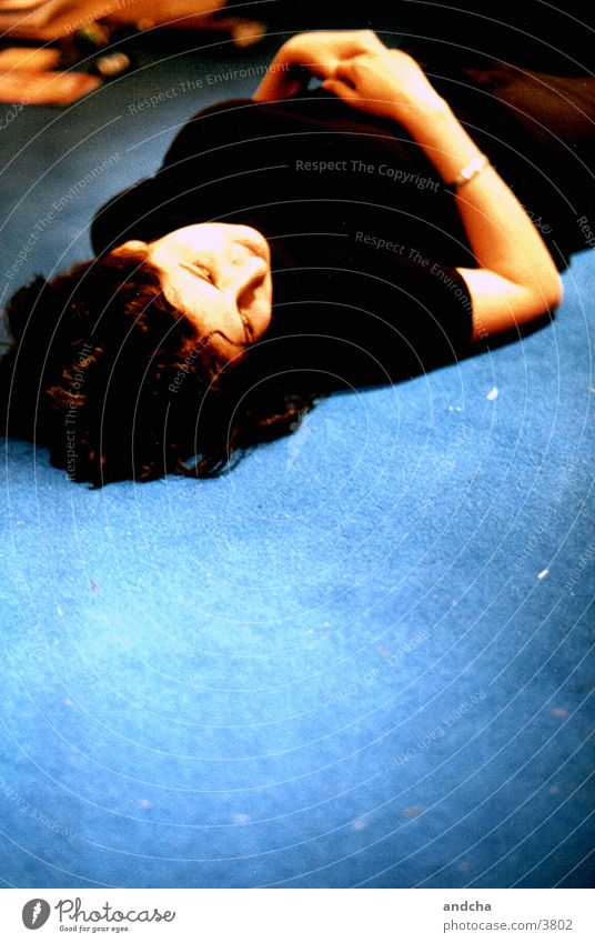 Woman Blue Black Relaxation Contentment Ground Fatigue Carpet Photographic technology