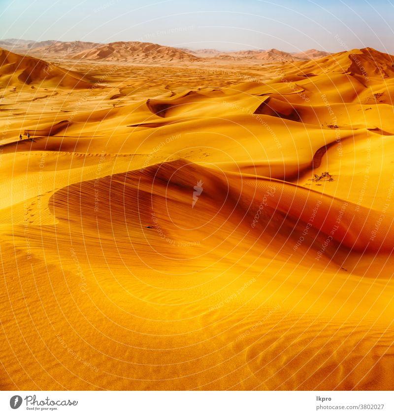 in oman old desert  rub al khali the empty  quarter and outdoor  sand dune yellow golden rock empty quarter adventure africa asia arabic arid background