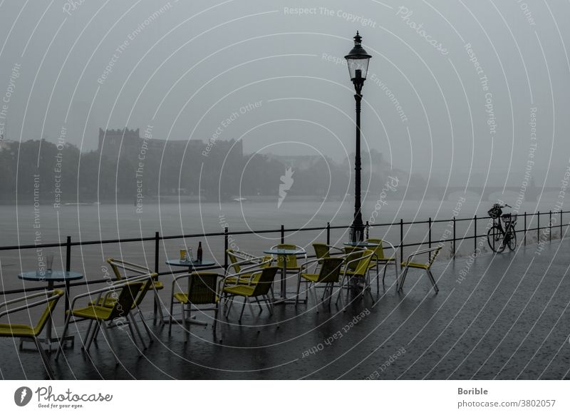 Basel in the rain and Café am Rhein Rhine Rain Monochrome Town Water Clouds River Exterior shot Deserted Panorama (View) Sky Evening Light Storm