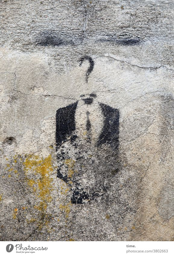 Art on building | nothing is forever (1) graffiti Wall (barrier) Wall (building) Checkmark Question mark suit jacket Tie Washed out corrupted Old Trashy