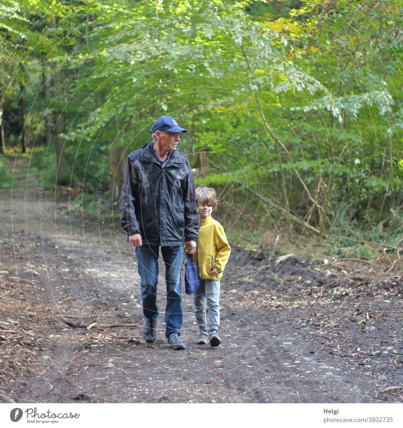 Grandpa and grandchildren on the road in the forest Human being Man Senior citizen grandpa Grandfather Child Grandchildren Boy (child) To go for a walk Forest