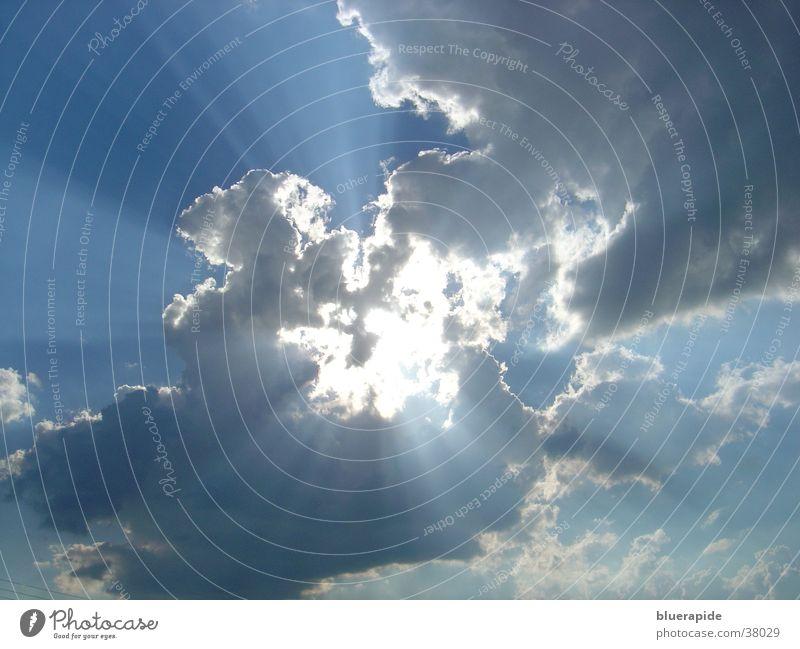Nature Beautiful Sky White Sun Blue Clouds Rain Bright Lighting Power Glittering Weather Energy industry Thunder and lightning God