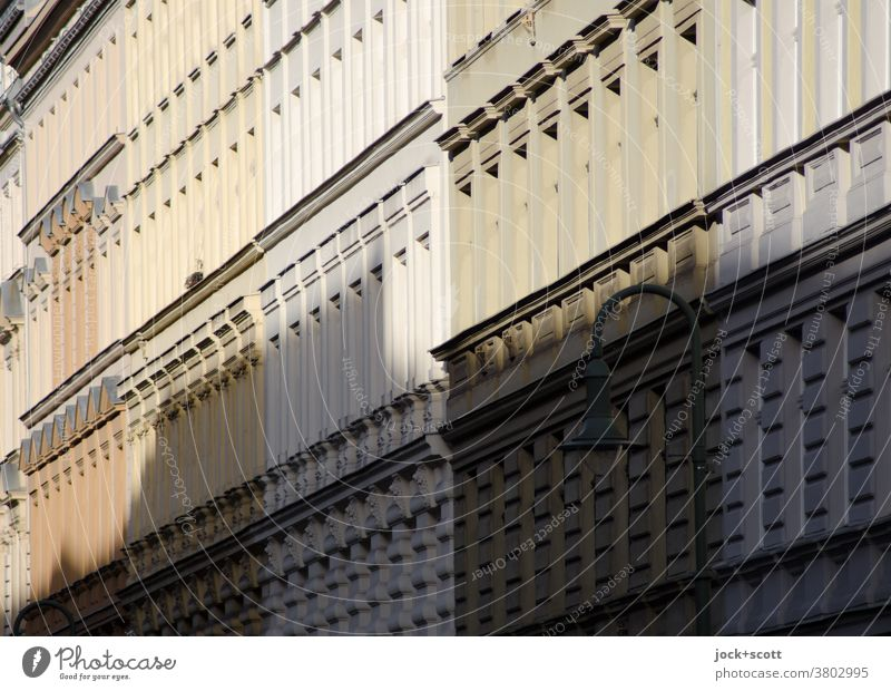 cast shadows on the facades opposite Facade Town house (City: Block of flats) Housefront Sunlight Symmetry Prenzlauer Berg Perspective Architecture Row Equal