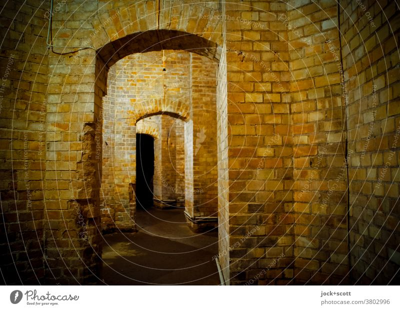 just straight on between old walls Manmade structures Architecture Room Brick Historic Vault Structures and shapes Corridor Masonry Subsoil Weathered Old