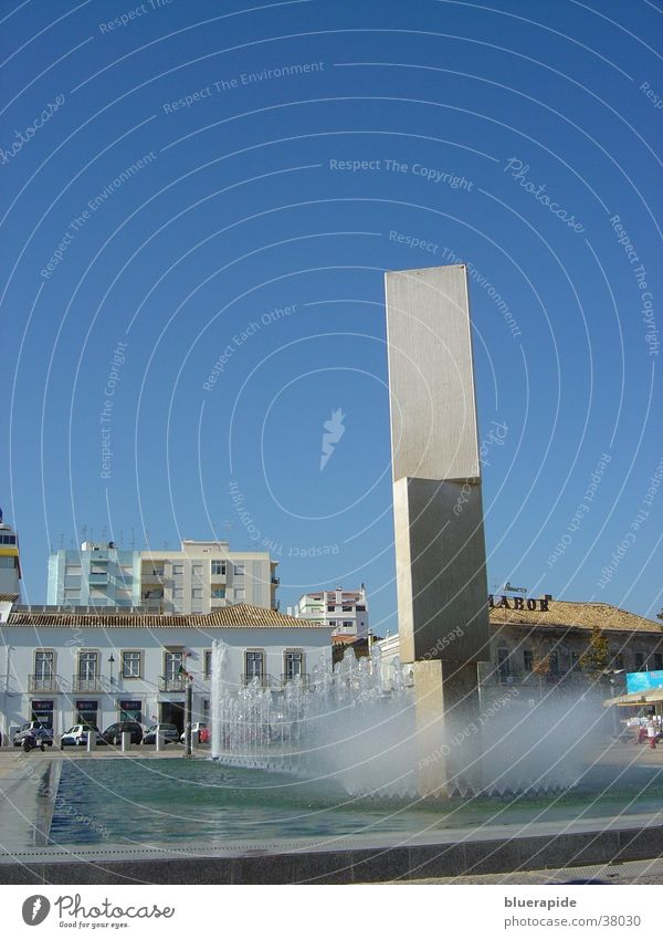 Water Sky Blue House (Residential Structure) Stone Architecture Concrete Places Well Sculpture Basin Spray Block Fountain