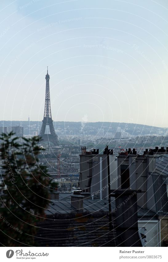 View over Paris with the Eiffel tower in the morning hours capital city cityscape construction culture eiffel eiffel tower europe famous france french historic