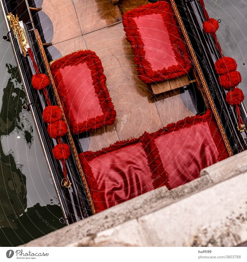 red seats in a Venetian gondola seen from above on a bridge. Red Seat Stool Gondola (Boat) Venice Italy Channel Tourism Water Port City Town Watercraft