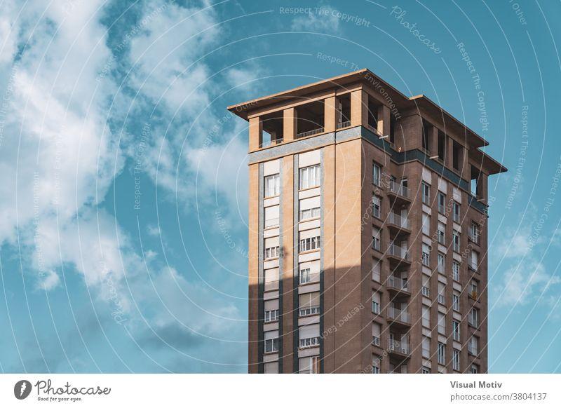 Upper floors and observation deck of a vintage residential skyscraper building facade windows upper urban architecture metropolitan edifice structure corner