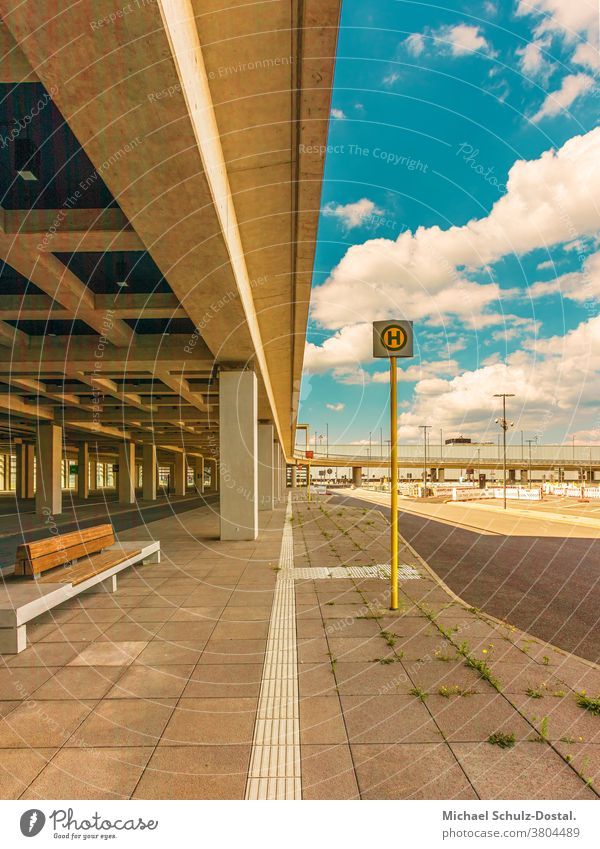 urban architecture - concrete lines with bus stop Town city metropol Airport Berlin about Architecture graphically Colour shape surface minimal Geometry harmony