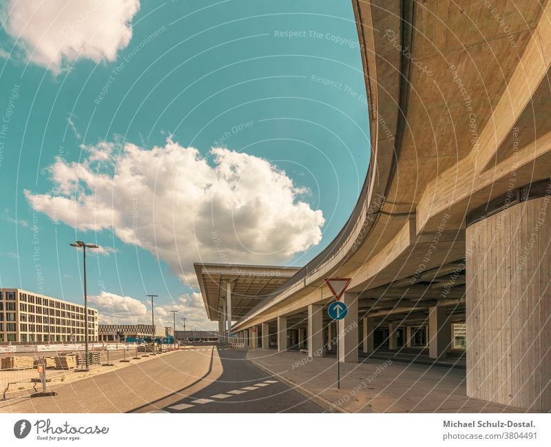 Urban architecture - concrete curves and straight shapes urban Town city metropol Airport Berlin about Architecture graphically Colour surface minimal Geometry