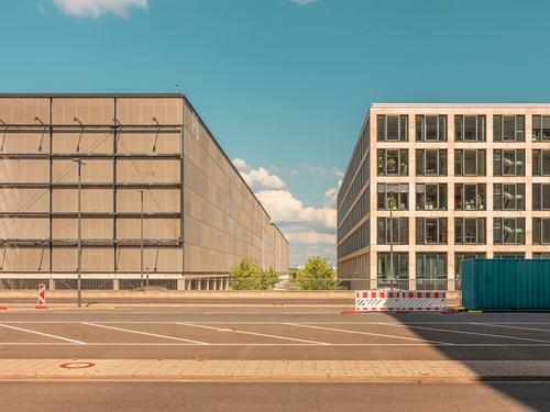 Urban architecture - parking garage and office building urban Town city metropol Airport Berlin about Architecture graphically Colour shape surface minimal