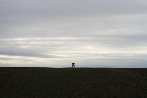 High seat and bare field before a grey sky Landscape Hunting Blind Small acre Bleak Sky Gray cloudy Monoculture bleak centered Diminutive afar Field