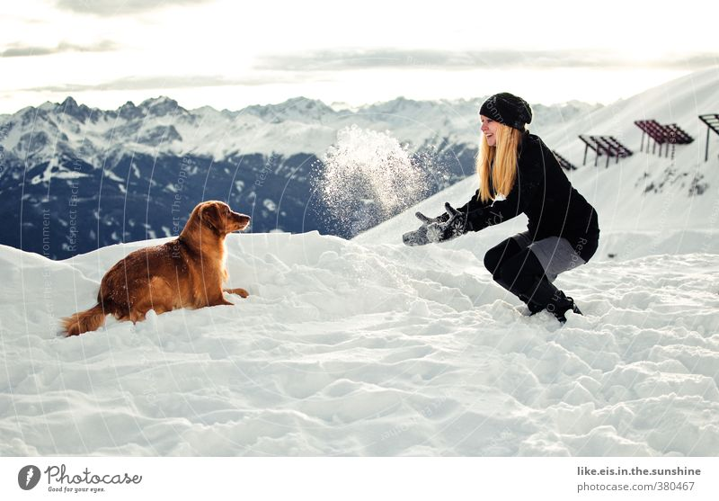 Dog Youth (Young adults) Beautiful Young woman Landscape Joy Winter Mountain Life Snow Feminine Playing Happy Snowfall Ice Blonde