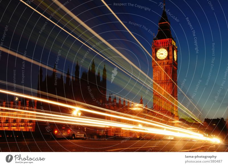 Nightlines Night sky London England Europe Town Capital city Downtown Palace Tower Architecture Tourist Attraction Landmark Big Ben Houses of Parliament