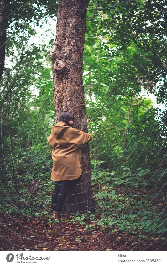A young woman is standing in the forest and hugs a tree. Nature conservation and environmental protection. Forest nature conservation Environmental protection