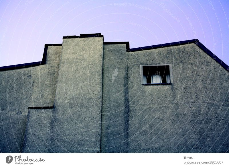 Room with a view Wall (building) Architecture Wall (barrier) Window Twilight urban Copy Space bottom Deserted Structures and shapes Pattern Exterior shot Time