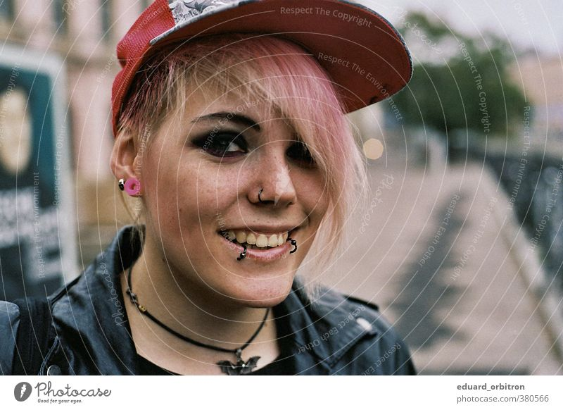 Dess Mettel Human being Woman Youth (Young adults) Colour Joy Young woman Adults 18 - 30 years Feminine Happy Head To enjoy Make-up Piercing Punk Leather jacket
