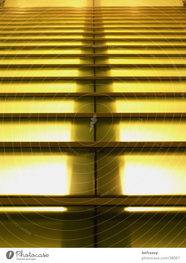 glass staircase Light Yellow Striped Brilliant Go up Descent Architecture Stairs Deep Glass