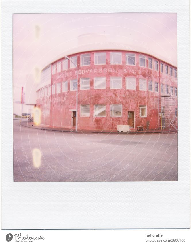Polaroid of an Icelandic house House (Residential Structure) Landscape dwell Building Exterior shot Deserted Colour photo Roof Manmade structures Red Round