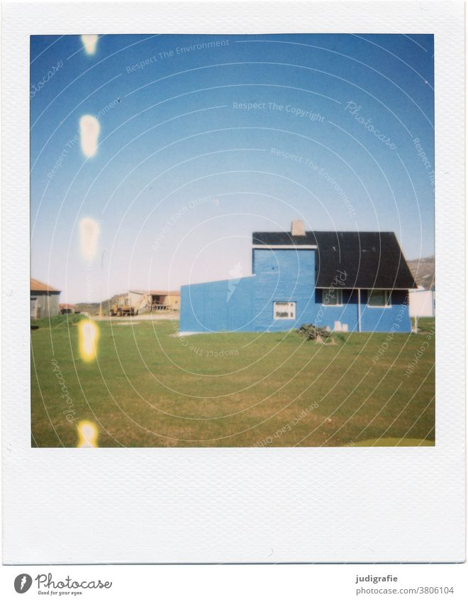 Polaroid of an Icelandic house House (Residential Structure) Landscape dwell Loneliness Building Exterior shot Deserted Colour photo Roof Window Couple
