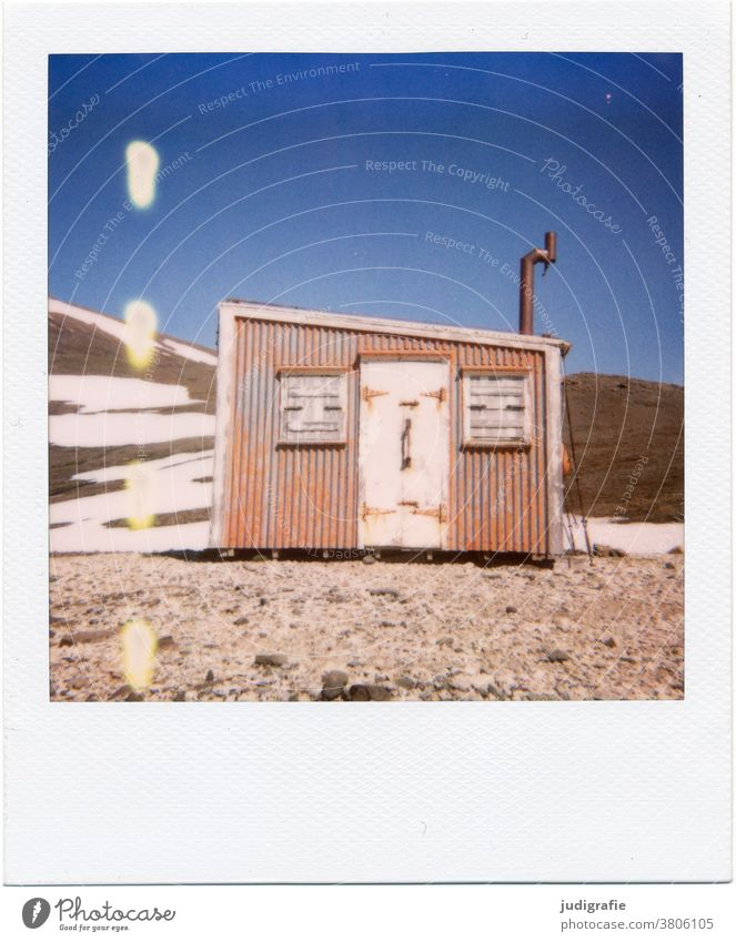 Icelandic refuge on Polaroid House (Residential Structure) Landscape Loneliness Building Exterior shot Deserted Colour photo Hut Window Living or residing Moody