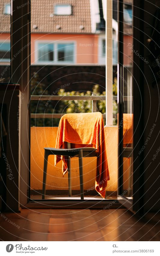 chair with towel Chair Towel Flat (apartment) Balcony at home Living or residing Photos of everyday life Everyday life Laundry Dry Orange Household door