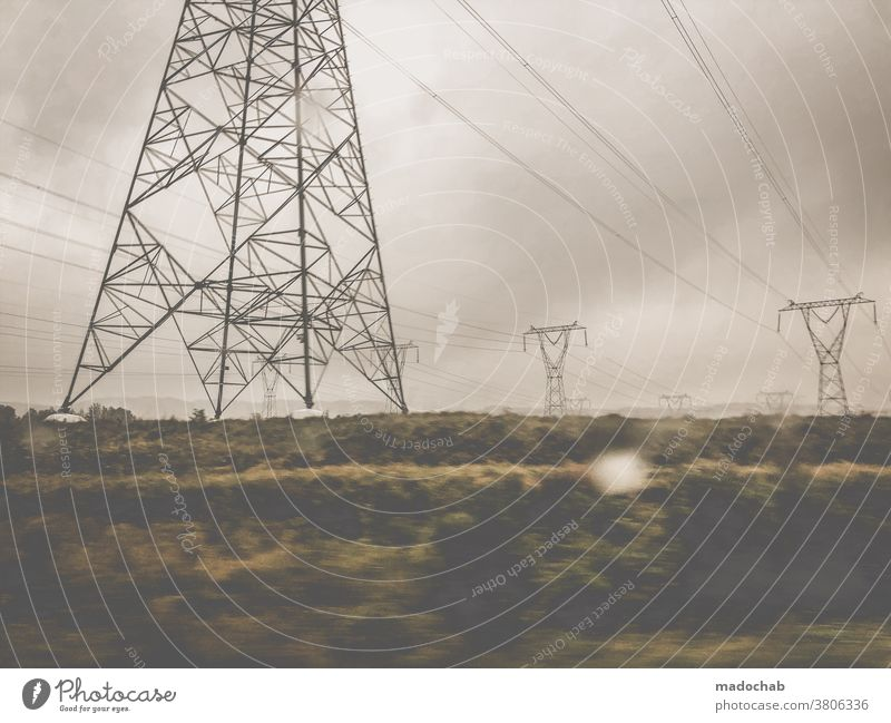 Mourning Earth stream Electricity Energy industry Technology Environment Electricity pylon Energy crisis Save energy High voltage power line Cable Sky