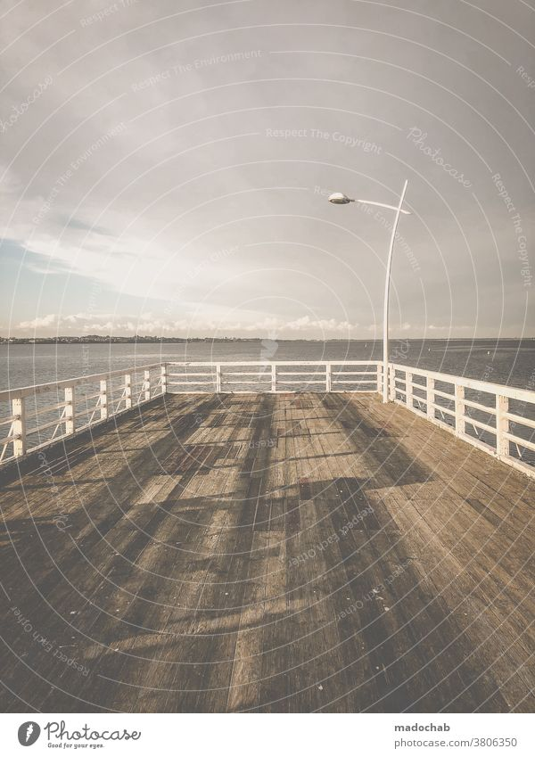 end Footbridge Vantage point Ocean Baltic Sea Water Deserted Calm Horizon Relaxation Exterior shot Sky Vacation & Travel Far-off places Freedom Loneliness End