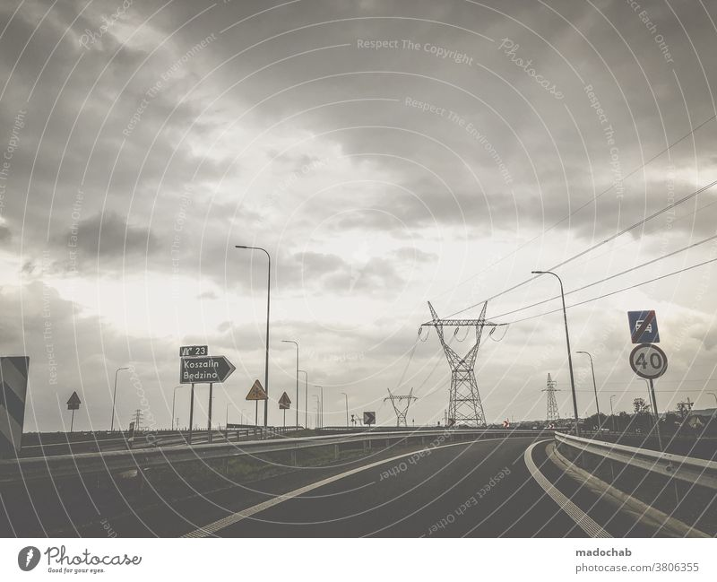 road trip stream Energy Electricity pylon Street Transport Mobility Poland Energy industry Road signs voyage Car Energy crisis Environmental protection