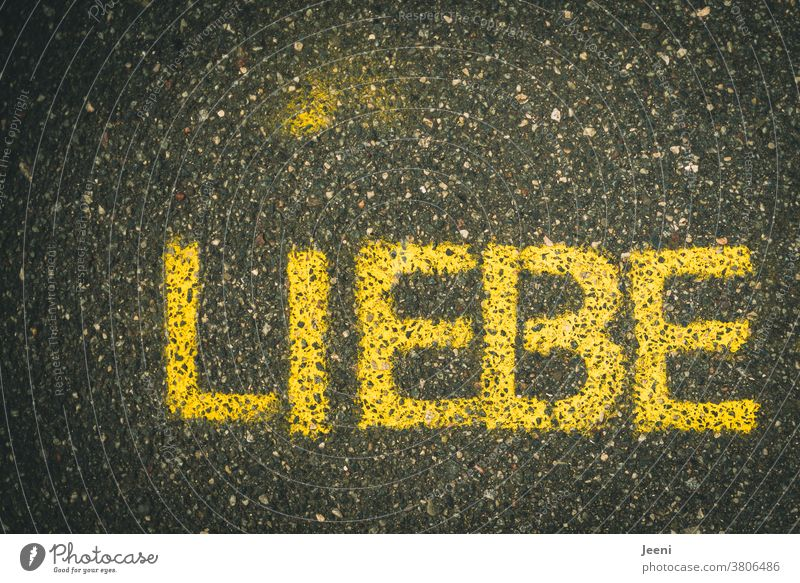 """A path with street paintings with the word """"LOVE"""" Love Street painting off Chalk Asphalt Spray chalk Painting (action, artwork) Creativity Art Street art"""