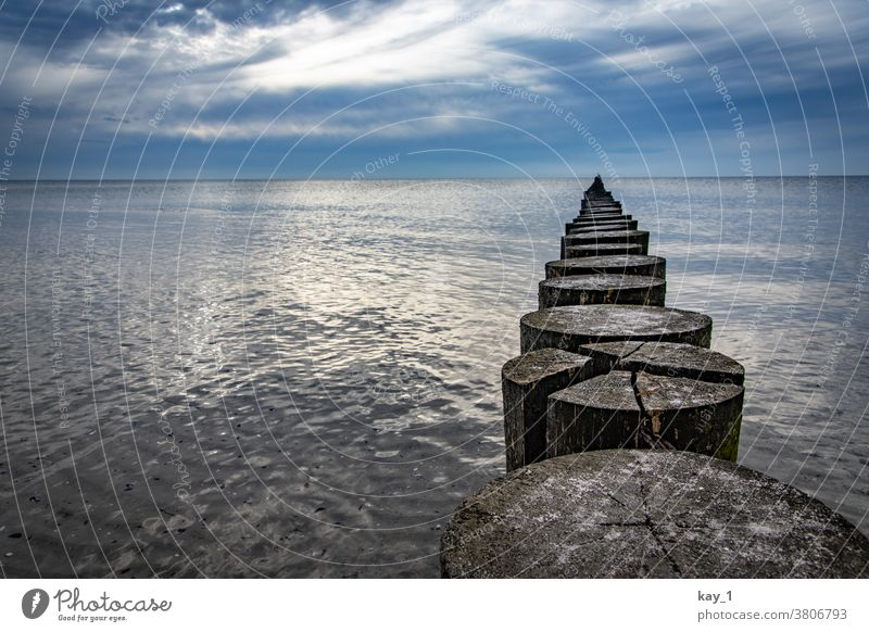 Stage in the still waters of the Baltic Sea Far-off places Sky Horizon Nature Deserted Colour photo Exterior shot Contrast Panorama (View) Ocean