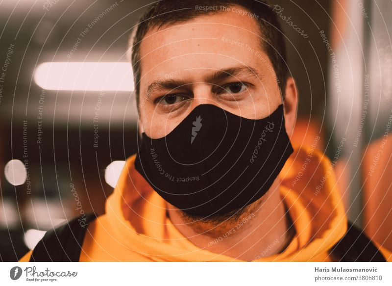 Man with face mask close up blonde bokeh celebrity competition corona coronavirus covid-19 epidemic garage infection male man man with mask men new normal