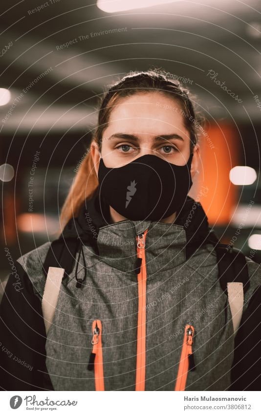Woman with face mask in jacket portrait adult attractive beautiful black casual collection cool coronado bridge coronavirus covid-19 creative fashion female