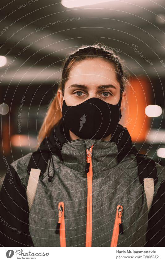 Woman with face mask in jacket portrait adult attractive beautiful black casual collection cool coronado bridge coronavirus covid-19 creative fashion female