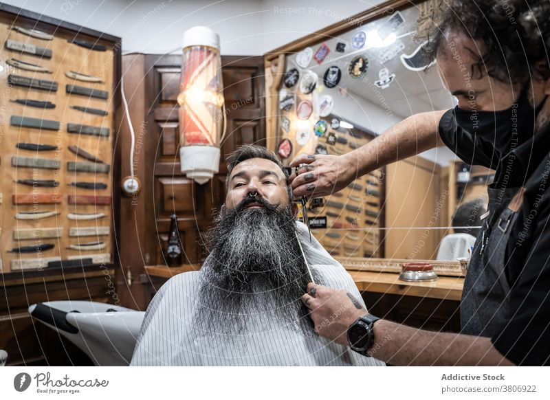 Barber cutting beard of client in salon barbershop grooming beauty scissors comb style masculine male middle age mature mustache fashion professional work