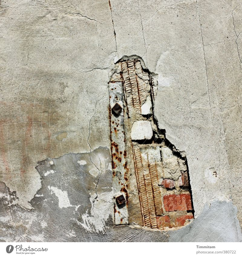 White Wall (building) Emotions Wall (barrier) Gray Stone Line Metal Broken Simple Decline Brick Hollow Plaster Bracket