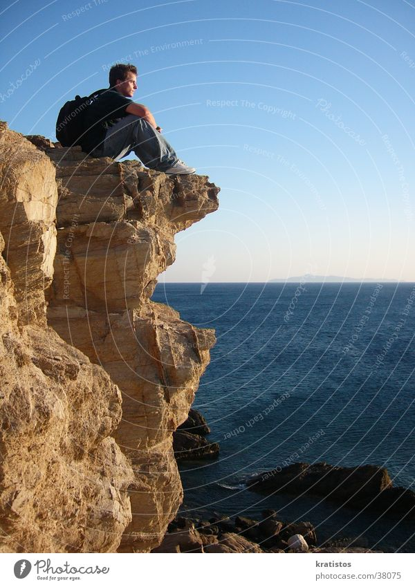 Man Ocean Rock Europe Greece Cliff Sounion