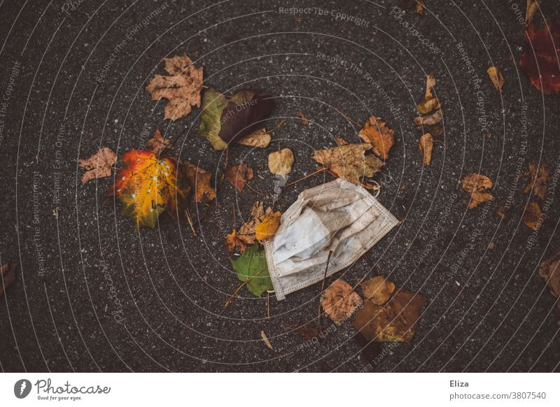 Wearing disposable mask with leaves on the floor. Corona in autumn. corona Autumn foliage Carried Mask Disposable mask Mouth protection Ground Trash covid-19