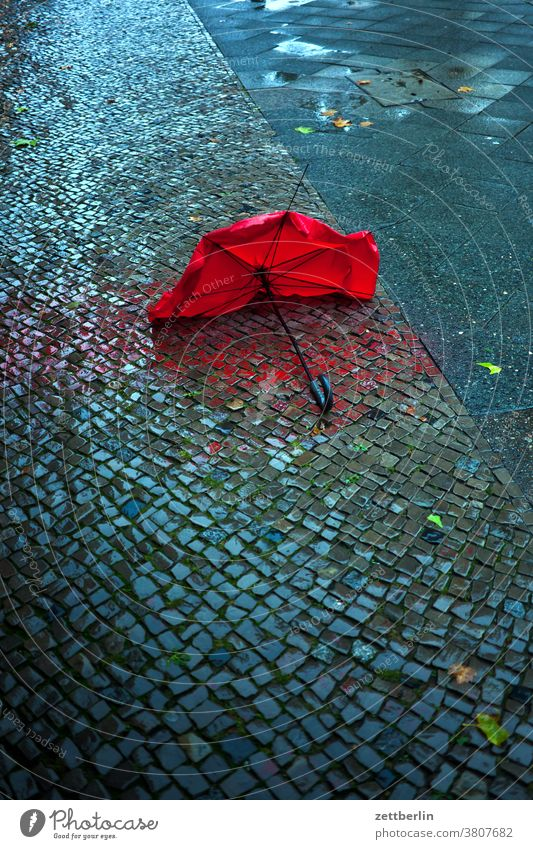 Umbrella in the rain Berlin broken Capital city Autumn rear building Broken Rain Umbrellas & Shades Schöneberg Town Street street photography Scene urban Doomed