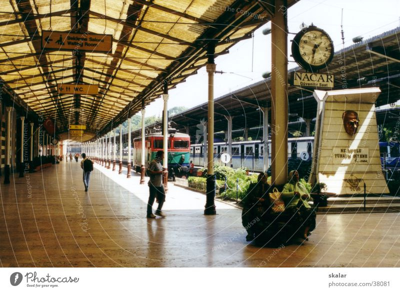 journey through time Time Railroad Light Europe Train station Wait Perspective Human being Vacation & Travel