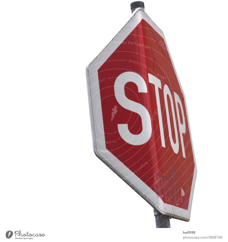 Stop on curved shield - TOP Stop signal geboben Broken stop Road sign Signs and labeling Street Transport Signage