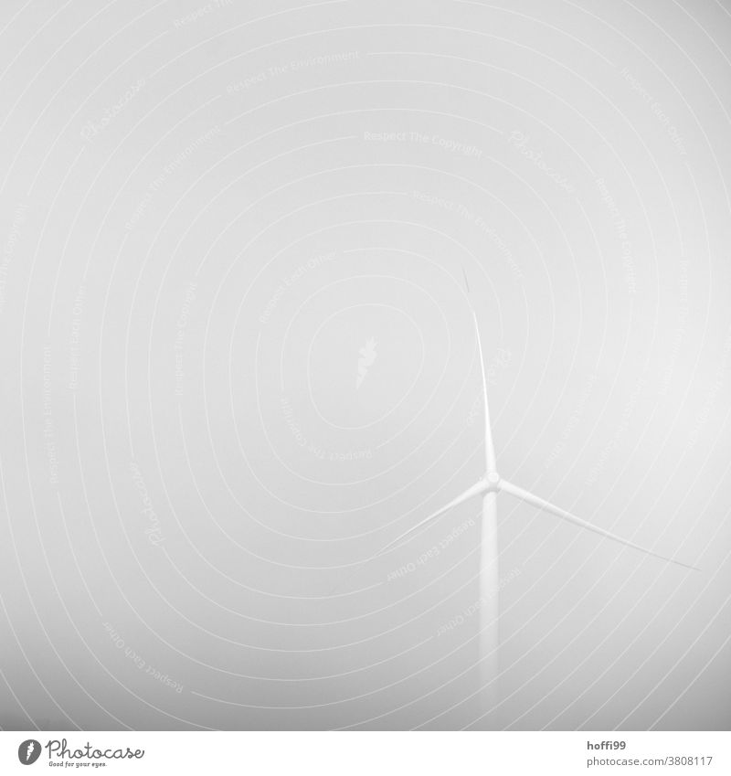 Windmill in the fog Fog Misty atmosphere Shroud of fog Gloomy Industrial heritage Gray Industrial Photography High voltage power line Advancement