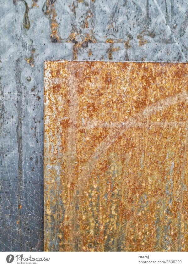 Two different steel sheets geometrically arranged Steel Iron Rust Industry Industrial Photography Old Metal Tin Clarity Arranged Behind one another Contrast
