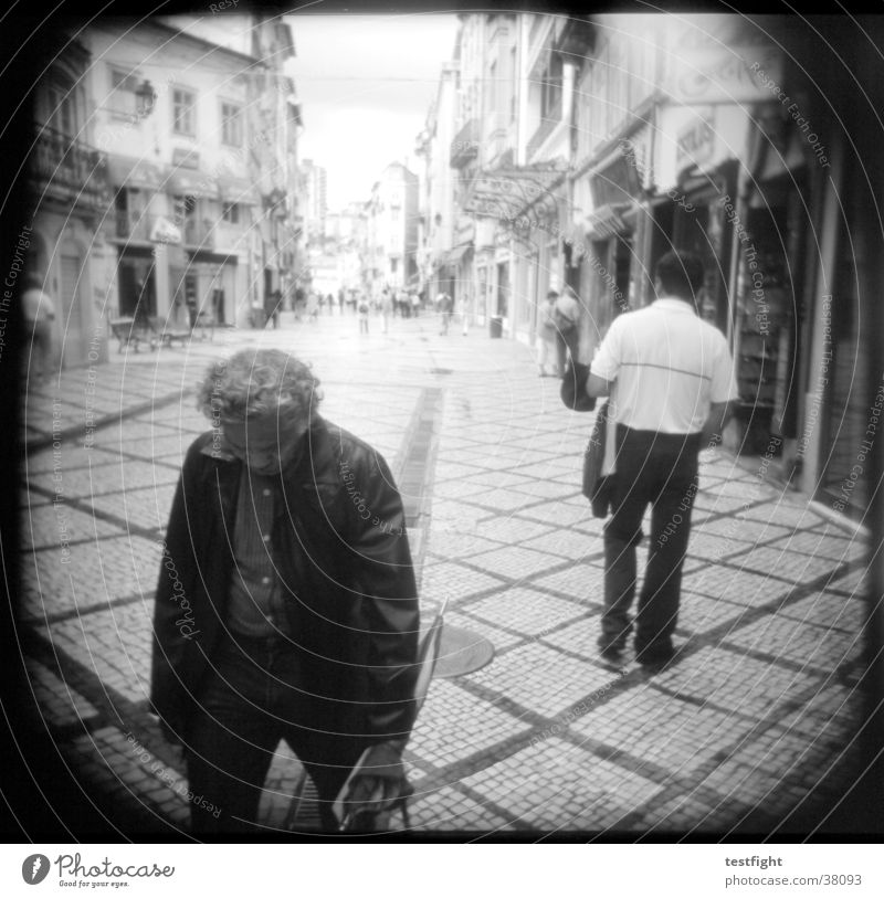 holga lo-fi Holga Black White Pedestrian precinct Town Portugal Group Black & white photo Street coimbra