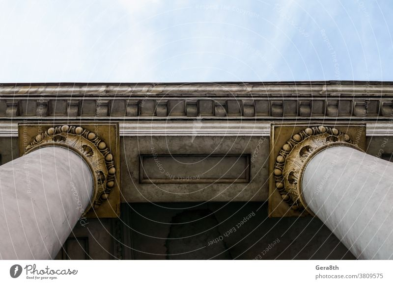 antique columns of an old building Arc abstract ancient arch architecture backdrop background ball bottom view brown city close close up color concrete decor