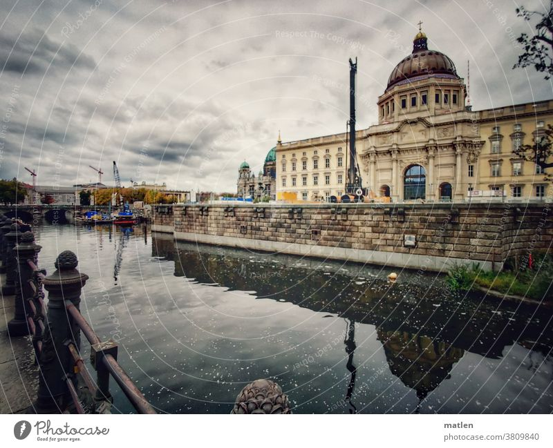Berlin city palace Middle Construction site Dome Exterior shot Downtown Tourist Attraction Manmade structures reflection Spree Sky Clouds Capital city