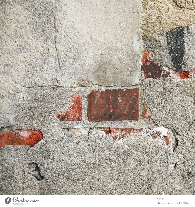 Plaster, lively Wall (building) Old Broken Trashy Wall (barrier) orient refurbishment Mortar Stone Brick patchwork repaired interim solution harsh Old building