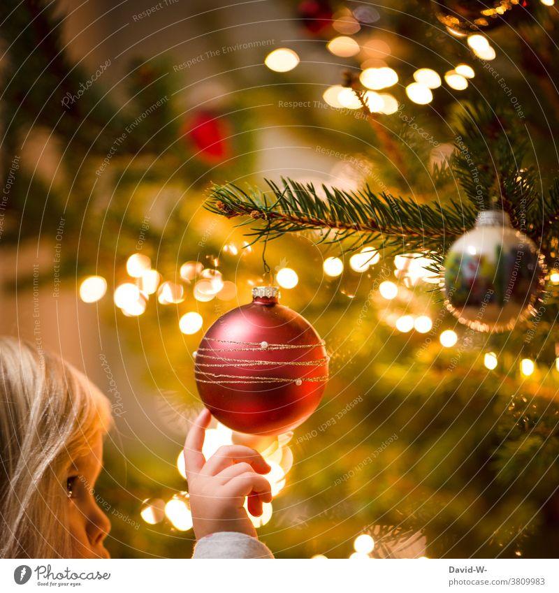 Children and Christmas fir tree Glitter Ball Christmas tree Decoration awed Anticipation Cute Joy Fairy lights Illuminate