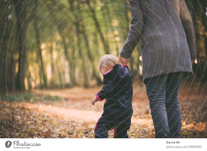 Mother and child on an autumn walk Autumn To go for a walk Parents Child Autumnal Attachment in common Forest Together